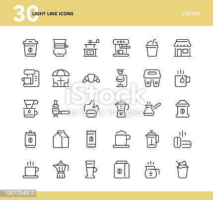 Coffee - Light Line Icons - TS 1.0 Style, Vector EPS 10 File, Pixel Perfect 30 Icons.