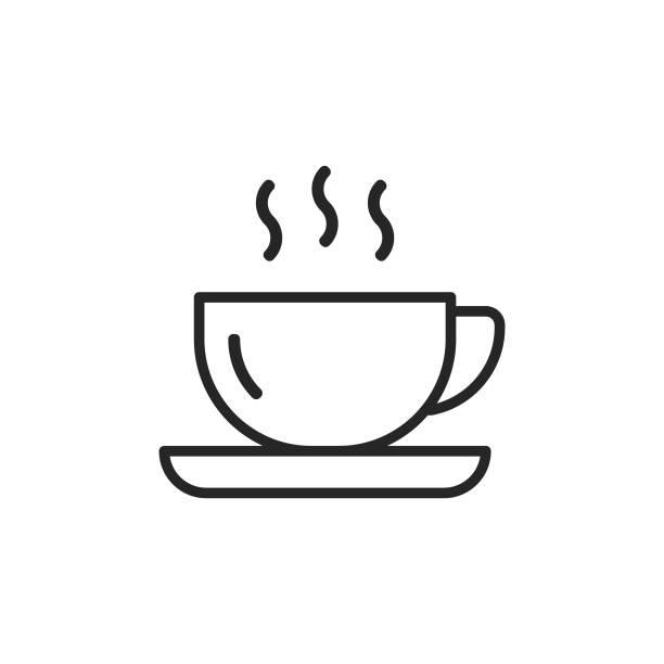 illustrazioni stock, clip art, cartoni animati e icone di tendenza di icona della linea del caffè. tratto modificabile. pixel perfetto. per dispositivi mobili e web. - caffè
