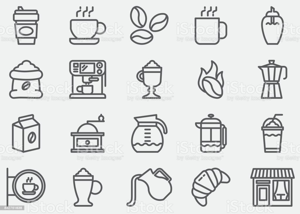 Coffee Line Icons vector art illustration