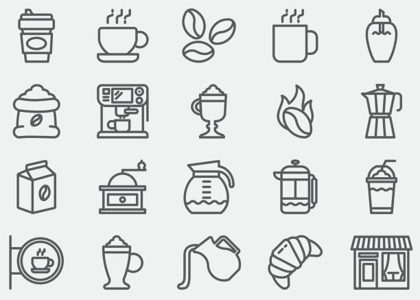 Coffee Line Icons Coffee Line Icons hot chocolate stock illustrations