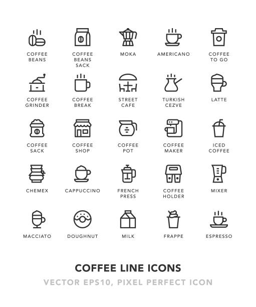 coffee line icons - cappuccino stock illustrations