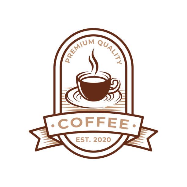 ilustraciones, imágenes clip art, dibujos animados e iconos de stock de ilustración vectorial de diseño de logotipo de café. retro vintage coffee logo vector concepto de diseño para café y emblema de restaurante. diseño vectorial de coffee shop para logotipo, icono, etiqueta, insignia, signo y símbolo. - conceptos y temas