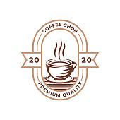istock Coffee Logo design vector illustration. Retro Vintage Coffee Logo vector design concept for cafe and restaurant emblem. Coffee Shop vector design for Logo, icon, label, badge, sign and symbol. 1267681056