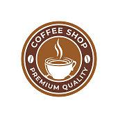 Coffee Logo design vector illustration. Retro Vintage Coffee Logo vector design concept for cafe and restaurant emblem. Coffee Shop vector design for Logo, icon, label, badge, sign and symbol.
