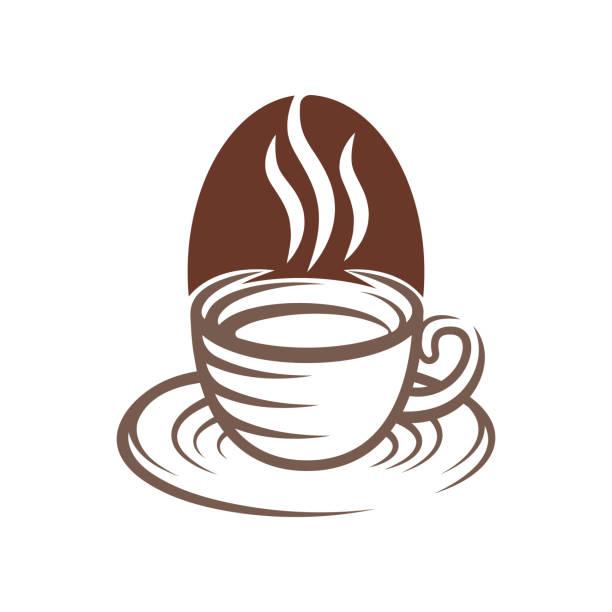 ilustraciones, imágenes clip art, dibujos animados e iconos de stock de ilustración vectorial de diseño de logotipo de café. vintage coffee logo vector concepto de diseño para cafetería y restaurante. diseño vectorial abstracto de coffee shop para logotipo, icono, etiqueta, insignia, signo y símbolo. - conceptos y temas