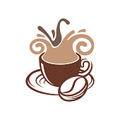 Coffee Logo design vector illustration. Vintage Coffee Logo vector design concept for cafe and restaurant. Abstract Coffee Shop vector design for Logo, icon, label, badge, sign and symbol.