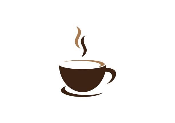 bildbanksillustrationer, clip art samt tecknat material och ikoner med mall för kaffelogotyp - kaffekopp