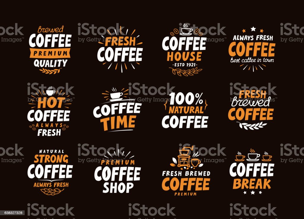 Coffee logo. Vector labels and icons. Collection elements for menu vector art illustration