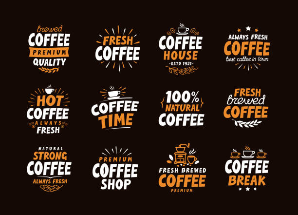 coffee logo. vector labels and icons. collection elements for menu - barista stock illustrations, clip art, cartoons, & icons