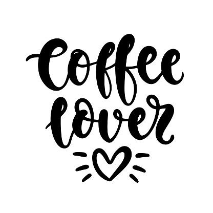 Download Coffee Lover Vector Handwritten Lettering Poster Mug ...