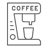 Coffee machine and cup thin line icon. Kitchenware for making hot drink symbol, outline style pictogram on white background. Caffeine or cafe sign for mobile concept, web design. Vector graphics