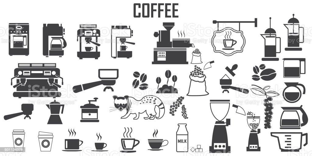 Ilustración de Café Máquina Café Copa Cocina Ilustración Plana ...