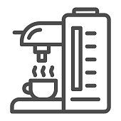Coffee machine line icon, Kitchen equipment concept, coffee maker sign on white background, Coffee machine icon in outline style for mobile concept and web design. Vector graphics