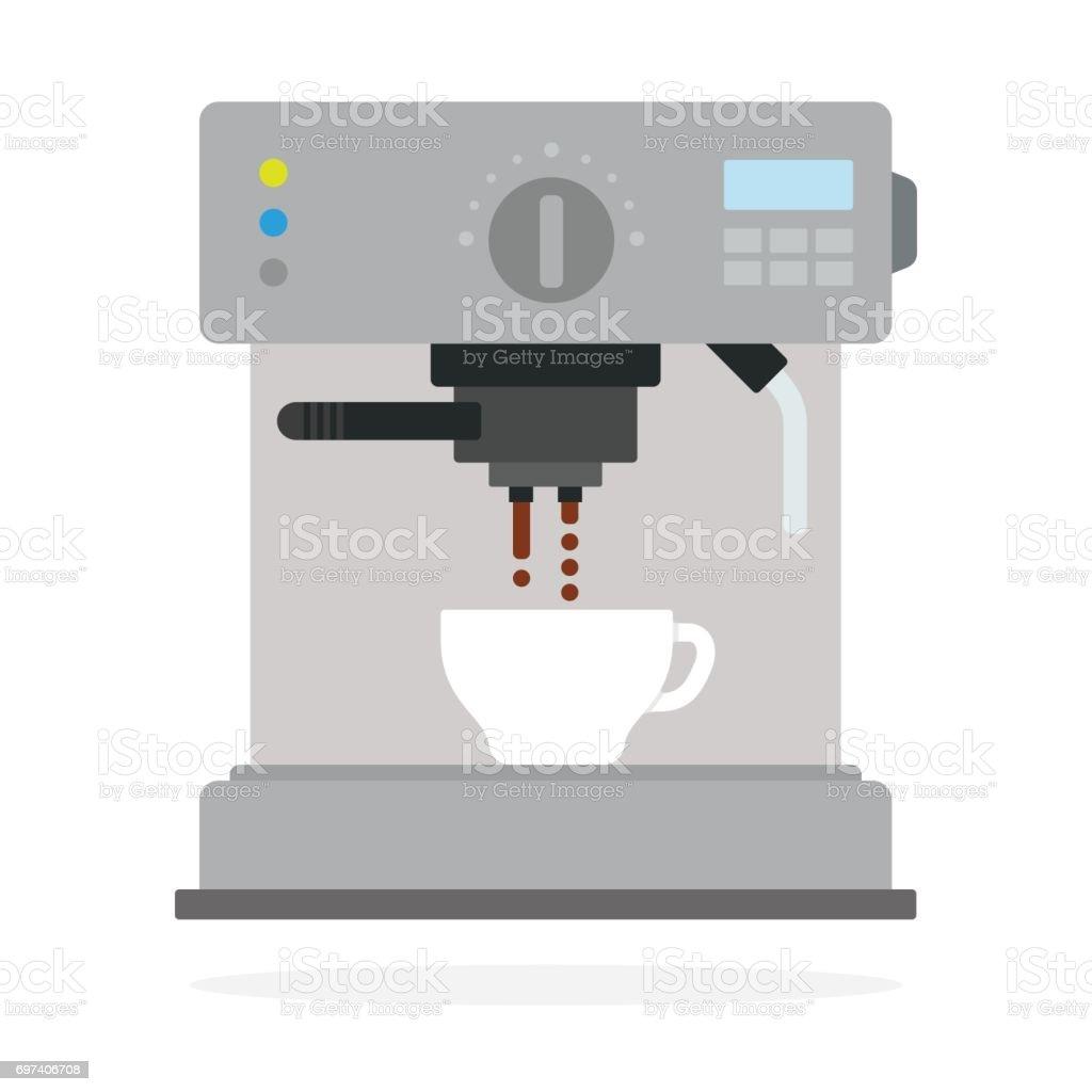 Máquina de café prepara café vector plano aislado - ilustración de arte vectorial
