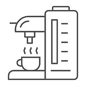 Coffee machine thin line icon, Kitchen equipment concept, coffee maker sign on white background, Coffee machine icon in outline style for mobile concept and web design. Vector graphics