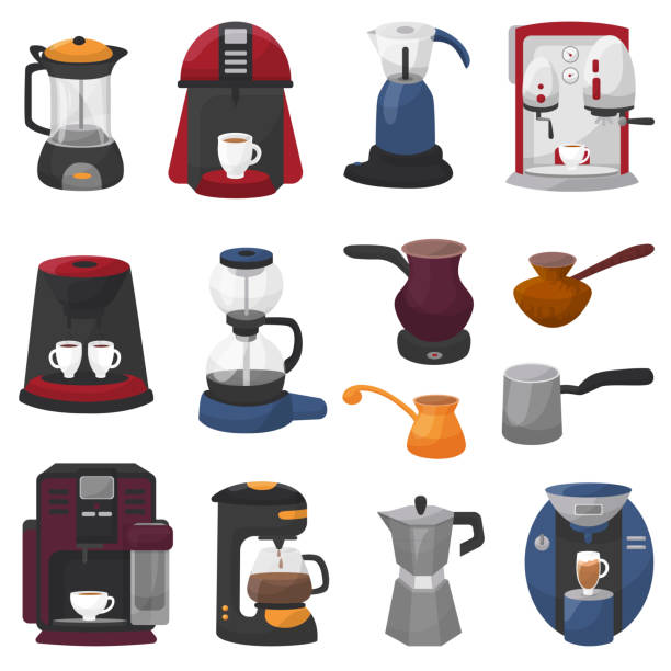 Coffee machine vector coffeemaker and coffee-machine for espresso drink with caffeine in cafe illustration set of professional equipment coffee-pot coffeecup isolated on white background vector art illustration