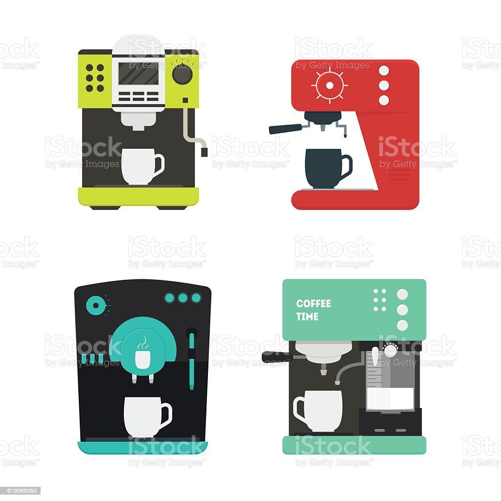 Coffee Machine with a Cup Set. Vector - ilustración de arte vectorial
