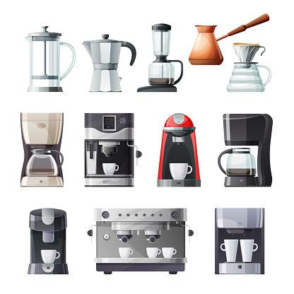 Coffee maker and espresso machine cartoon icons