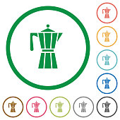 Coffee maker flat icons with outlines