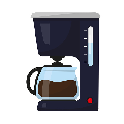 Coffee maker for home and office isolated on white background. Coffee mashine icon vector illustration.