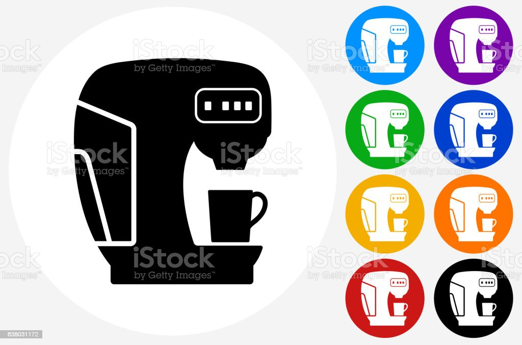 Coffee Maker Icon On Flat Color Circle Buttons Stock Vector