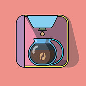 Coffee maker drip color flat icon. Vector illustration on a pastel pink background.