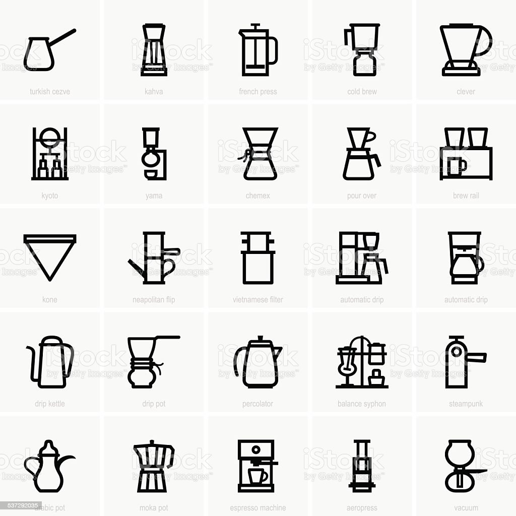 Coffee Maker Icons Stock Illustration Download Image Now Istock