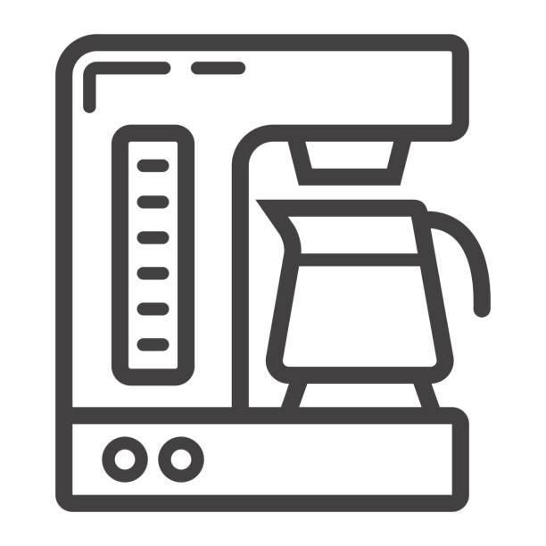 ilustrações de stock, clip art, desenhos animados e ícones de coffee maker line icon, kitchen and appliance, vector graphics, a linear pattern on a white background, eps 10. - kitchen counter