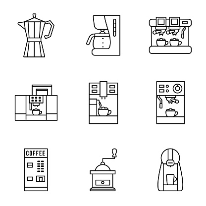 Coffee maker line icon set. Different types of coffee machines. Capsule, espresso, cappuccino latte and grinder. Concept for web site and printed materials. Editable strokes.