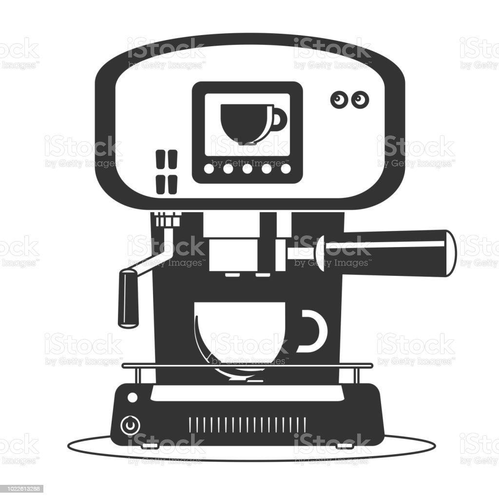 Ilustración de Cafetera Icono De Máquina Plano Simple Vector Símbolo ...