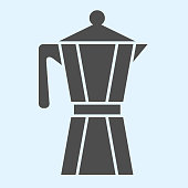 Coffee maker solid icon. Kettle pot with handle for brewing hot drinks. Home-style kitchen vector design concept, glyph style pictogram on white background, use for web and app. Eps 10