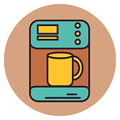 A thin line icon from a set of breakfast themed icons. Coffee Maker.