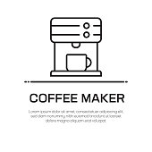 Coffee Maker Vector Line Icon - Simple Thin Line Icon, Premium Quality Design Element