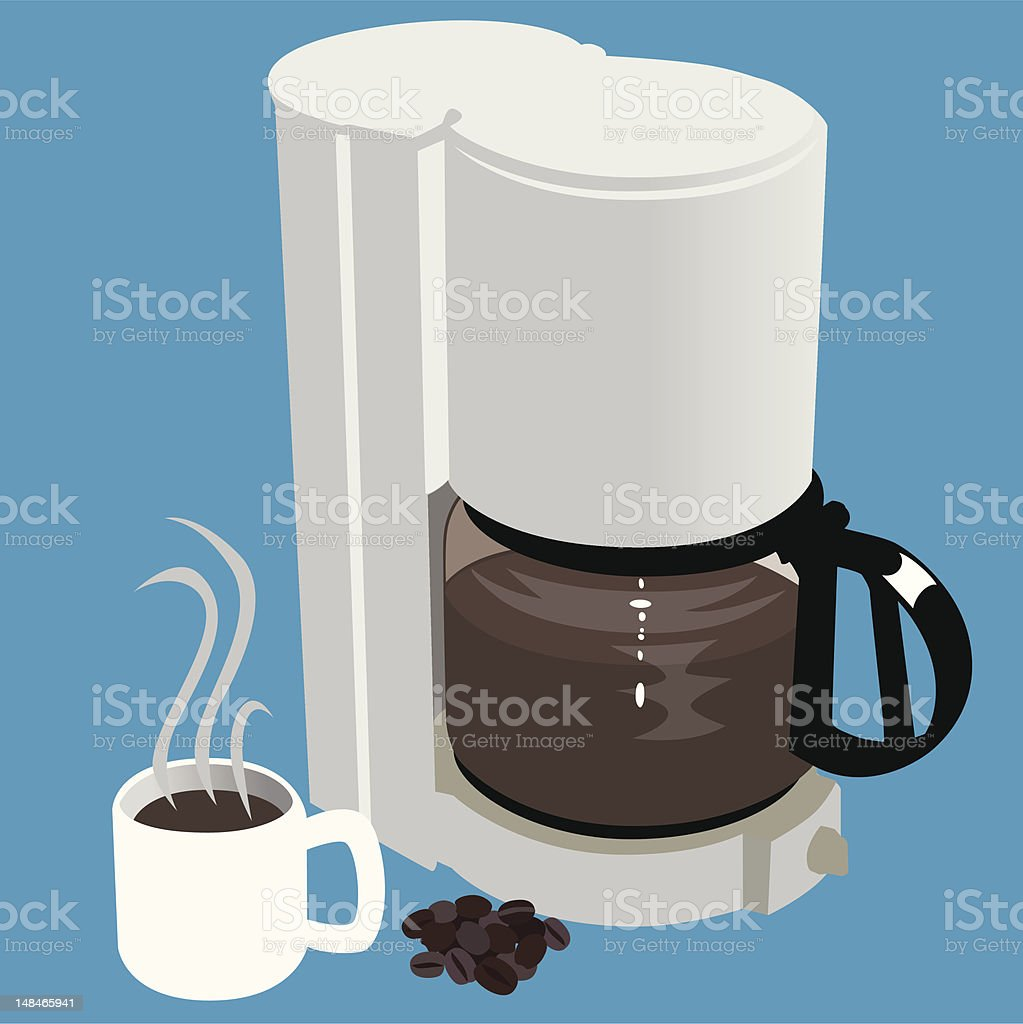 Coffee Maker with cup and beans vector art illustration
