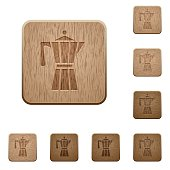 Coffee maker wooden buttons