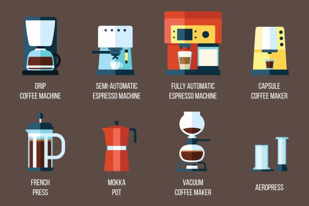 Coffee makers Vector set of various coffee makers and coffee machines. Flat style. coffee pot stock illustrations