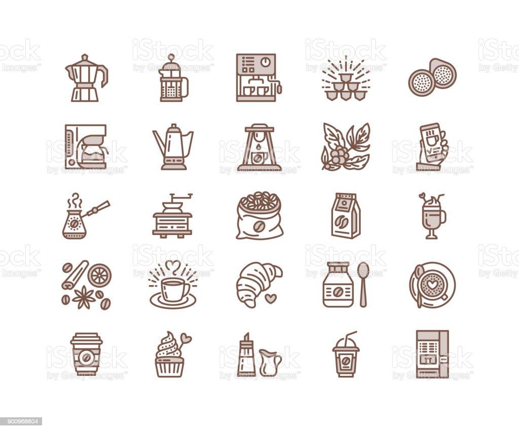 Ilustración de Iconos De Línea Equipo Vector Para Hacer Café ...