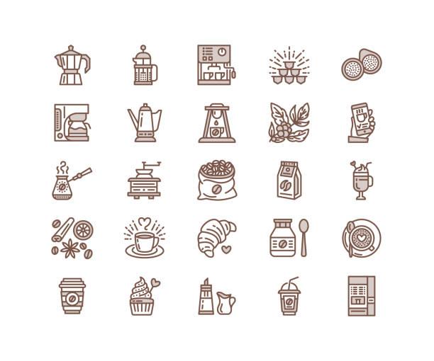 ilustrações de stock, clip art, desenhos animados e ícones de coffee making equipment vector line icons. tools - moka pot, french press, grinder, espresso, vending, plant. linear restaurant, shop pictogram with editable stroke for menu. pixel perfect 64x64 - café solúvel
