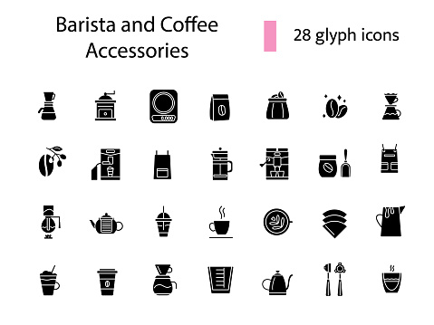 Coffee making tools glyph icons set. Professional plunger for espresso making. Isolated vector stock illustration