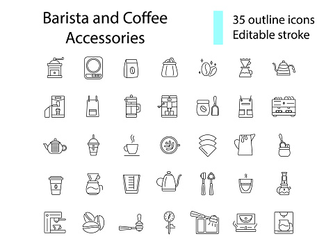 Coffee making tools outline icons set. Barista accessories. Editable stroke. Isolated vector stock illustration