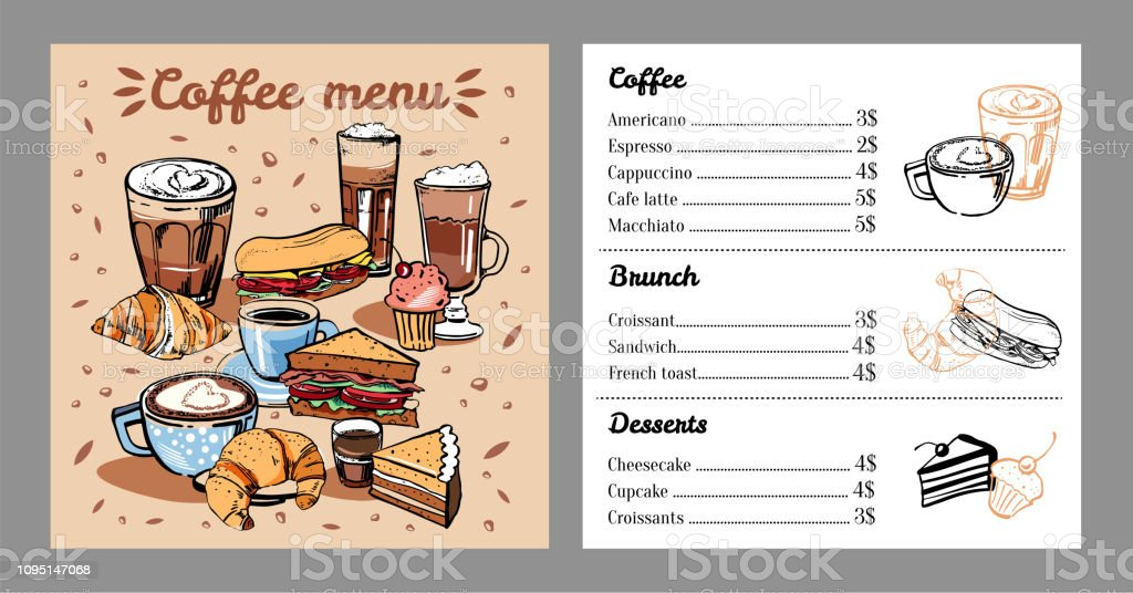 Coffee menu design template with list of coffee drinks, food and...