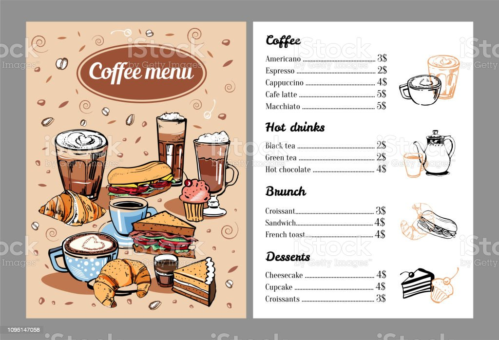 Coffee menu design template with list of hot drinks, food and...