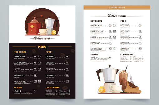 Coffee menu design with text and illustration. Vector Coffee card a4 template. White and dark background. Decorative elements for menu, cafe, flyer, advertising, etc. Eps 10.