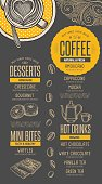 Coffee menu placemat food restaurant brochure, cafe template design. Vintage creative beverage flyer with hand-drawn graphic.