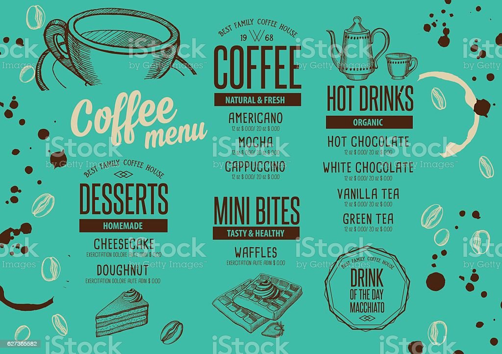 Coffee menu placemat food restaurant brochure. vector art illustration