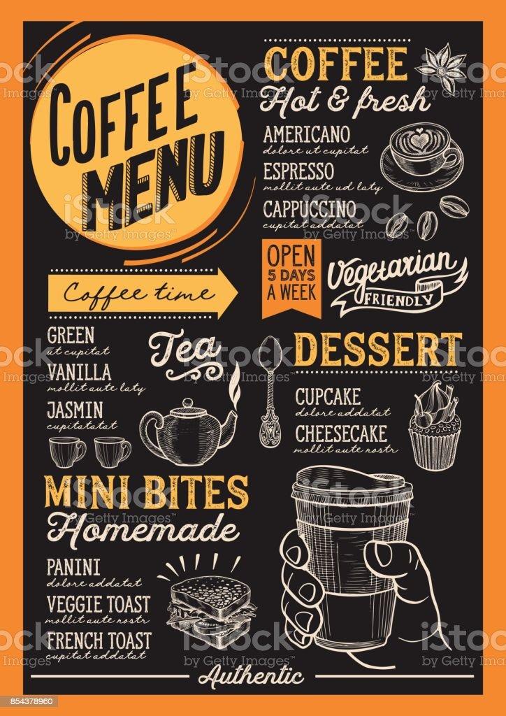 Coffee menu restaurant, drink template. vector art illustration