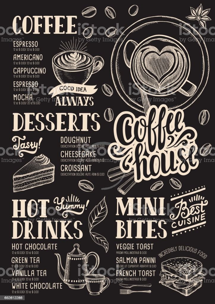 Coffee menu restaurant, food template. vector art illustration