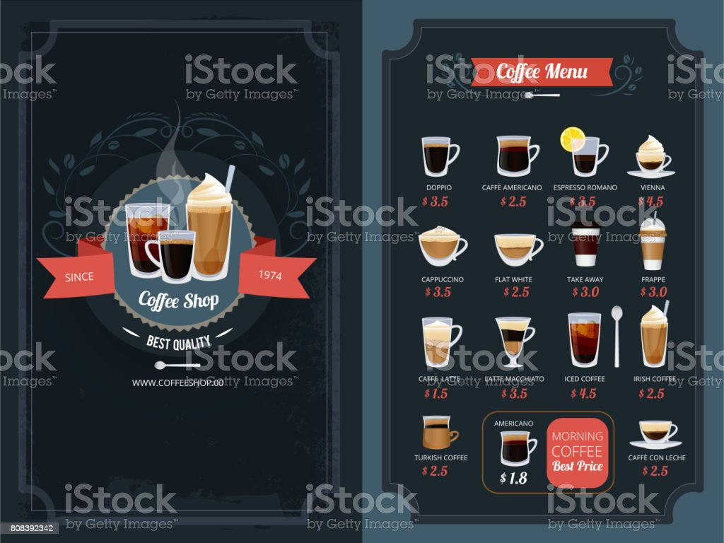 Coffee menu with different types. Cappuccino, macchiato, latte and others vector art illustration