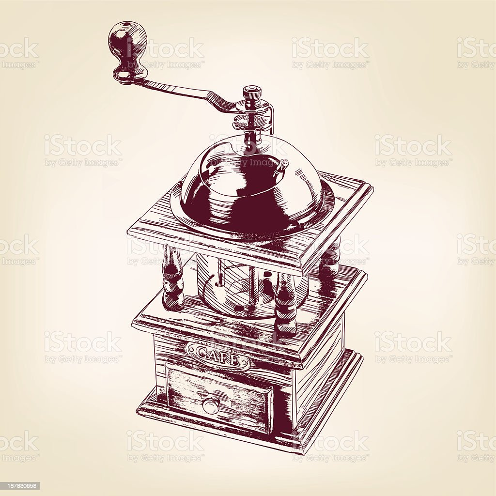 coffee mill hand drawn vector llustration royalty-free stock vector art