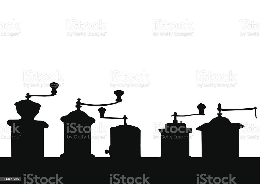 coffee mills on a shelf vector art illustration